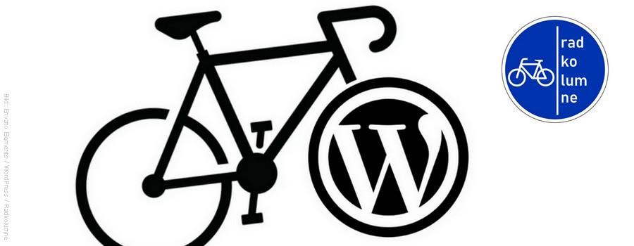 Fahrrad mit WordPress-Logo