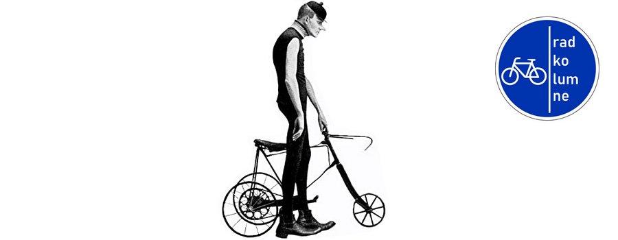 Karl Valentin mit Fahrrad