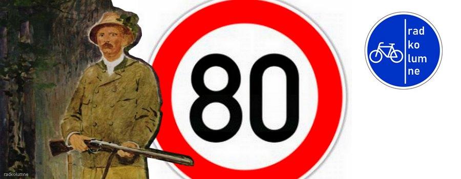Jäger und Tempo-80-Schild