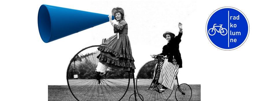 2 Frauen auf Hochrädern mit Megaphon