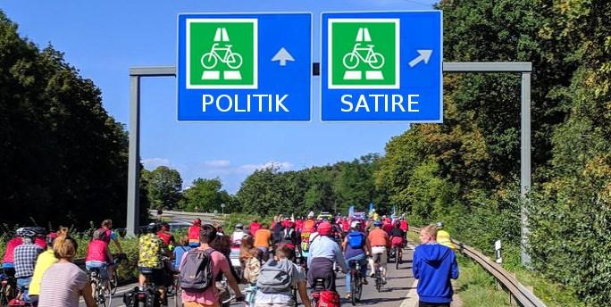 Radfahrer auf der Autobahn.