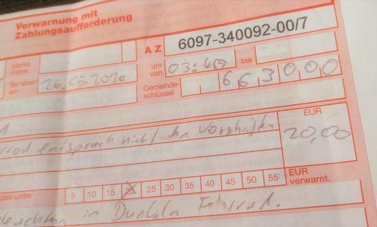 Verwarnung 20 Euro.