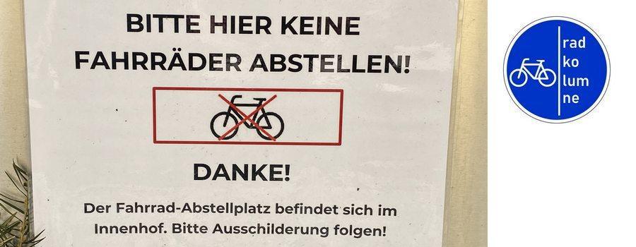 Schild: Keine Fahrräder abstellen!
